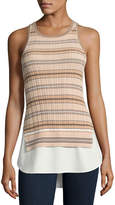 Derek Lam 10 Crosby Sheer Striped Combo Tunic Tank, Nude