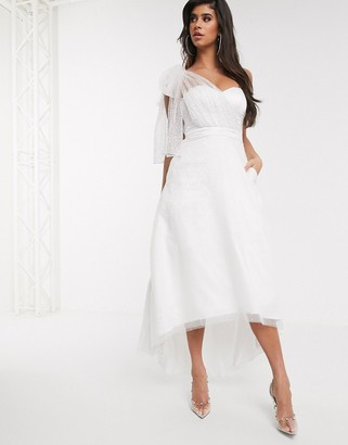 Bariano bow one shoulder full skirt maxi dress in white silver ombre