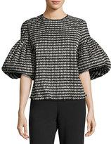 Rosie Assoulin Crinkled Gingham Puff-Sleeve Top, Black/White