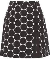 Michael Kors Polka-Dot Cotton And Silk-Blend Matelassé Mini Skirt