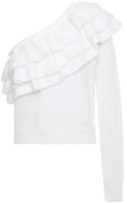 Philosophy di Lorenzo Serafini One-shoulder Ruffled Knitted Sweater