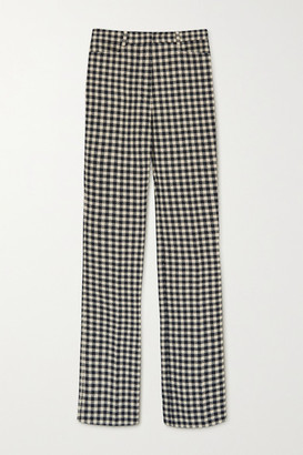 Victoria Beckham Checked Woven Flared Pants - Cream