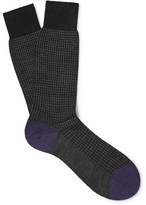Pantherella Hatherley Herringbone Merino Wool-blend Socks - Black
