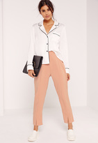 Missguided Petite Exclusive Split Front Cigarette Trousers Nude