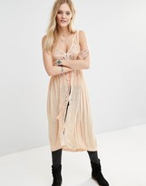 Free People Riptide Maxi Sleeveless Blouse with Cutwork Lace