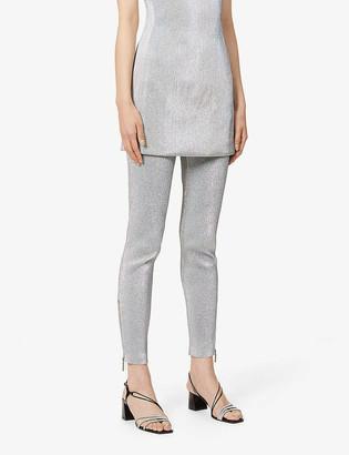 Area Zipped-hem skinny mid-rise metallic leggings