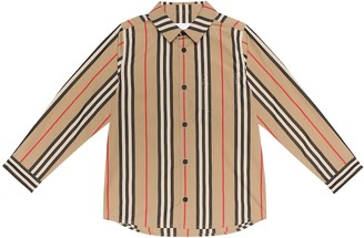 BURBERRY KIDS Icon Stripe cotton-poplin shirt