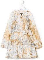 Roberto Cavalli baroque print ruffle trim dress - kids - Silk/Acetate/Cupro - 10 yrs