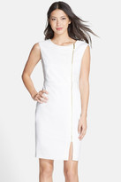 Ellen Tracy Front Zip Crepe Sheath Dress