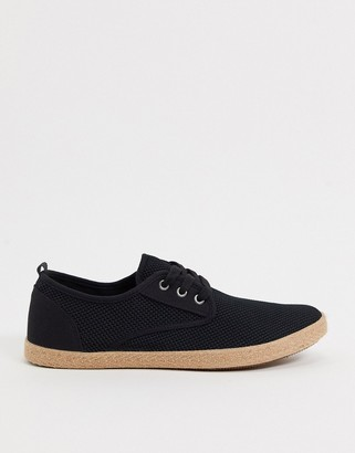 Burton Menswear Eco mesh lace up espadrilles in black