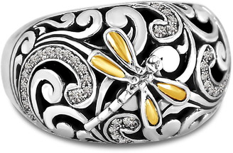 Devata 18K Gold Accent Sterling Silver Sweet Dragonfly CZ Ring
