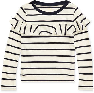 Polo Ralph Lauren Toddler Girls Striped Ruffled Cotton-Modal Top