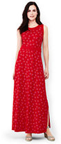 Lands' End Women's Petite Sleeveless Knit Maxi Dress-Bright Cherry Print
