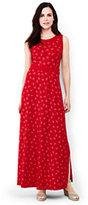 Lands' End Women's Petite Sleeveless Knit Maxi Dress-Bright Cherry Print