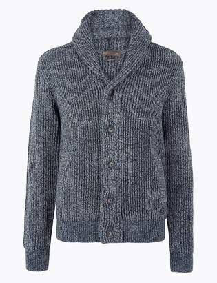 M&S CollectionMarks and Spencer Chunky Shawl Neck Cardigan with Wool