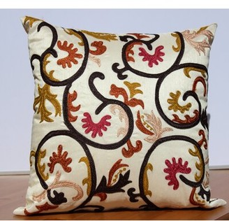 Auburn Textile Embroidered Accent Throw Pillow