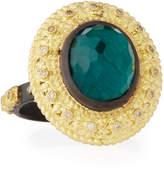 Armenta Old World Oval Topaz & Malachite Doublet Stacking Ring w/ Champagne Diamonds, Size 7