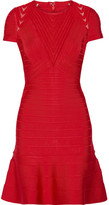 Herve Leger Hillary Tulle-paneled Bandage Dress - Red