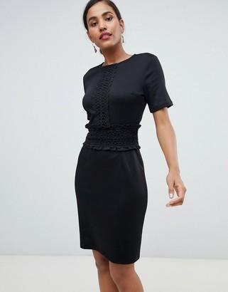 Asos Y.A.S Stabby crochet lace trim dress-Black