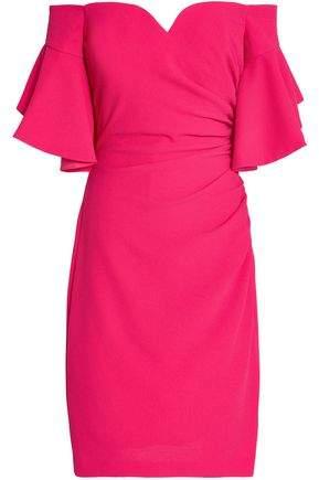 Badgley Mischka Off-The-Shoulder Ruched Cloqué Dress
