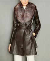 The Fur Vault Fox-Fur-Collar Belted Leather Coat