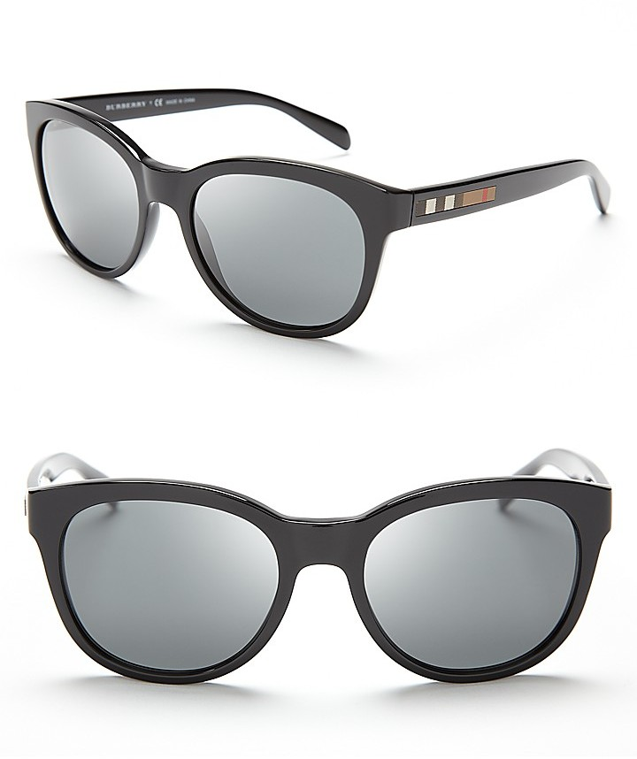 Burberry Round Cat Eye Color Check Sunglasses