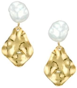 Chan Luu Hammered 18K Goldplated & 9-10MM Keshi Pearl Drop Earrings