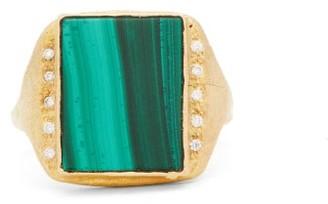 Roxy Orit Elhanati Signature Diamond, Malachite & 18kt Gold Ring - Womens - Gold