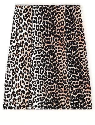 Ganni Rayon Slip Skirt in Leopard