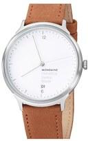 Mondaine 'Helvetica No.1 Light' Round Leather Strap Watch, 38mm