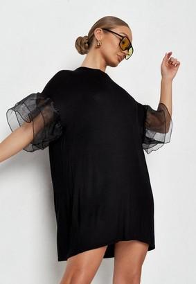 Missguided Black Organza Frill Sleeve Mini Dress