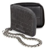Jimmy Choo Croc-Embossed Leather Chain Wallet