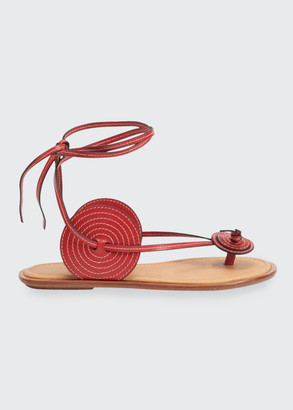 Loewe Disc Leather Ankle-Wrap Flat Thong Sandals