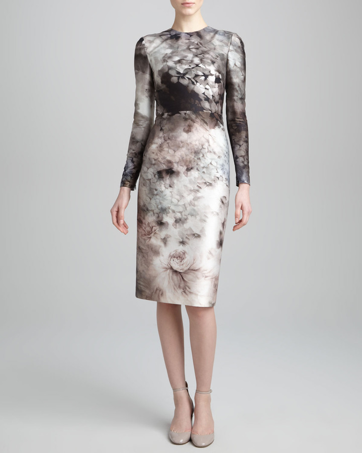 Valentino Long-Sleeve Floral-Print Dress, Gray