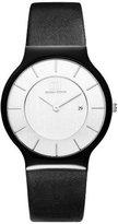 Danish Design Men's 36mm Black Leather Band Ceramic Case Quartz -Tone Dial Analog Watch IQ14Q964
