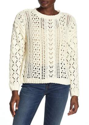 Olivia Sky Open Stitch Crochet Sweater