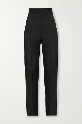 Alexandre Vauthier Grain De Poudre Wool Slim-leg Pants - Black