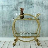 Graham and Green Antique Brass Circle Drinks Trolley
