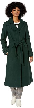 Kate Spade Long Line Trench with Ruffle Details (Deep Pine) Women's Clothing