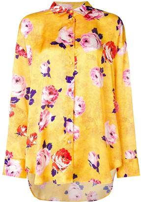 MSGM Floral Print Satin Blouse