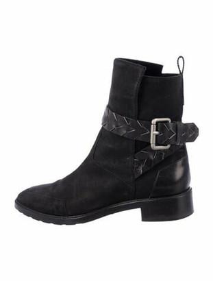 Proenza Schouler Suede Leather Trim Embellishment Moto Boots Black