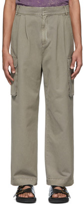 Tibi Taupe Pleated Cargo Pants