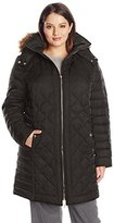 Kenneth Cole Women's Plus-Size Diamond-Quilted Down Coat