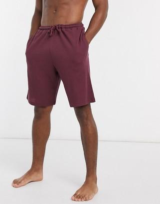 ASOS DESIGN lounge shorts in burgundy waffle