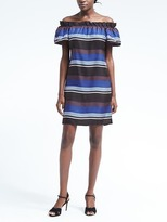 Banana Republic Stripe Silk Off-the-Shoulder Dress