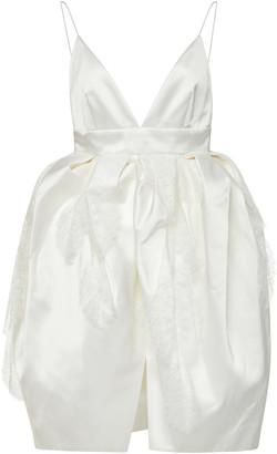 Danielle Frankel Iris Open-Back Gathered Waist Satin Mini Dress