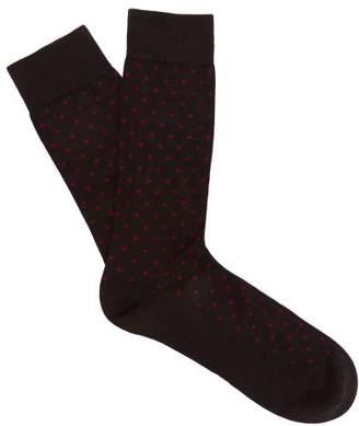 Pantherella Streatham Polka Dot Cotton Blend Socks - Mens - Charcoal