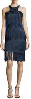 Notte by Marchesa Sleeveless Tiered Fringe Cocktail Dress, Navy