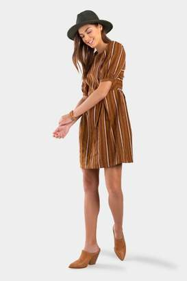 francesca's Quin Stripe Babydoll Dress - Camel