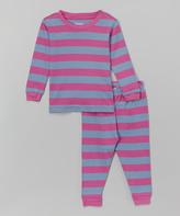 Purple & Denim Stripe Pajama Set - Girls